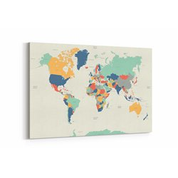 Renkli Dünya Haritası Kanvas Tablosu