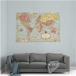 Renkli Eski Dünya Haritası Kanvas Tablosu
