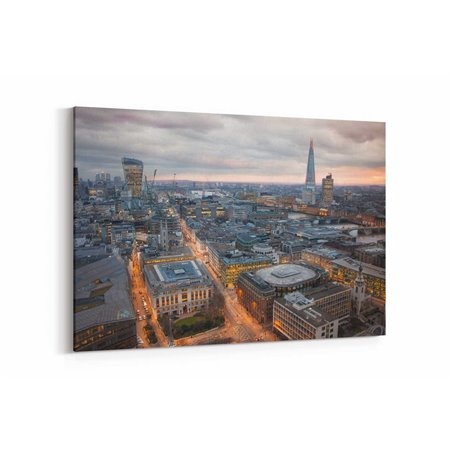 Londra Işıklı Sokaklar Kanvas Tablo