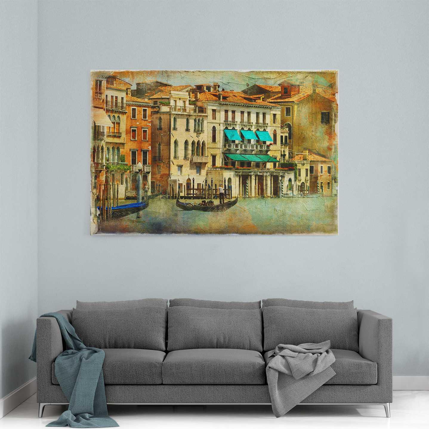 Retro Venedik Yaşamı Kanvas Tablo