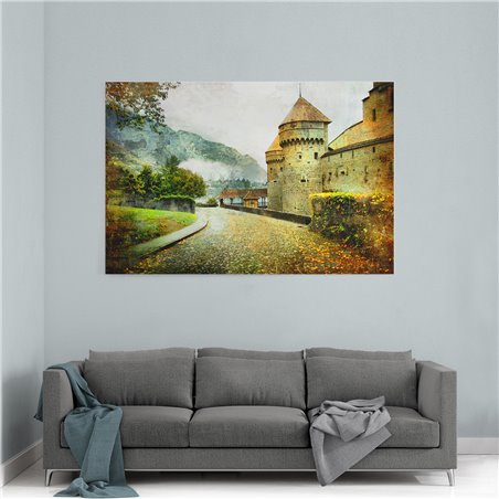 Chillon Castle İsviçre Kanvas Tablo