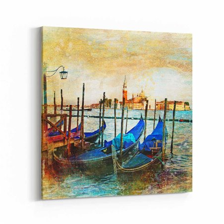 Venedik Mavi Kayıklar Kanvas Tablo