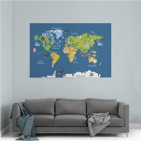 Balina Dünya Haritası Kanvas Tablosu
