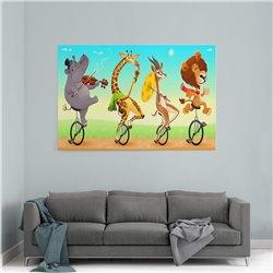 Bisiklet Süren Hayvanlar Kanvas Tablosu