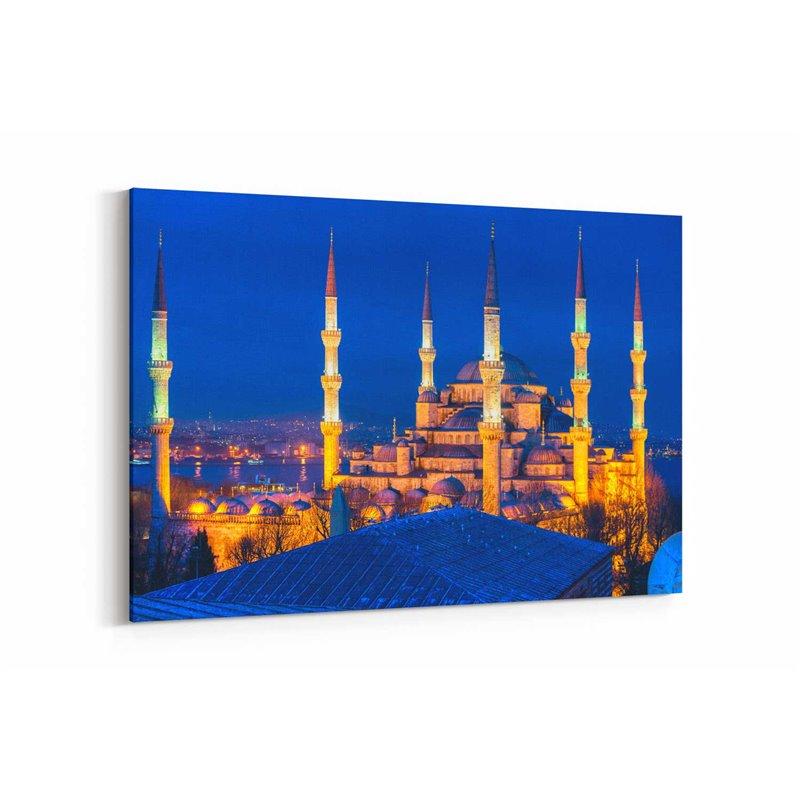 Sultan Ahmet Camii Gece Manzarı Kanvas Tablosu