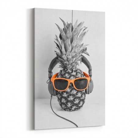Siyah Beyaz Gözlüklü Ananas Kanvas Tablo