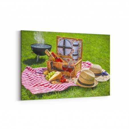 Şarap Eşliğinde Piknik Kanvas Tablo