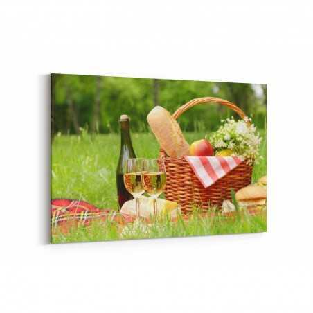 Beyaz Şarap ve Piknik Kanvas Tablo
