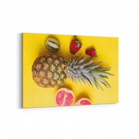 Ananas Çilek Kivi ve Greyfurt Kanvas Tablo