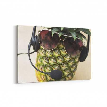 Kulaklıklı Gözlüklü Ananas Kanvas Tablo