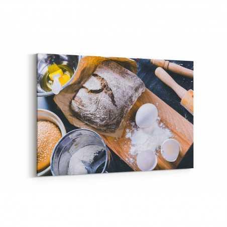 Siyah Ekmek Malzemeleri Kanvas Tablo