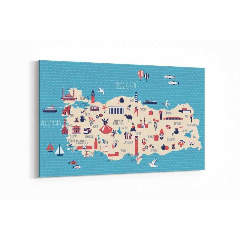 Türkiye Haritası Kanvas Tablo