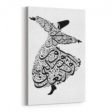 Siyah Semazen Kaligrafi Kanvas Tablo