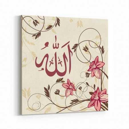 Allah Lafzı Pembe Çiçek Kanvas Tablo
