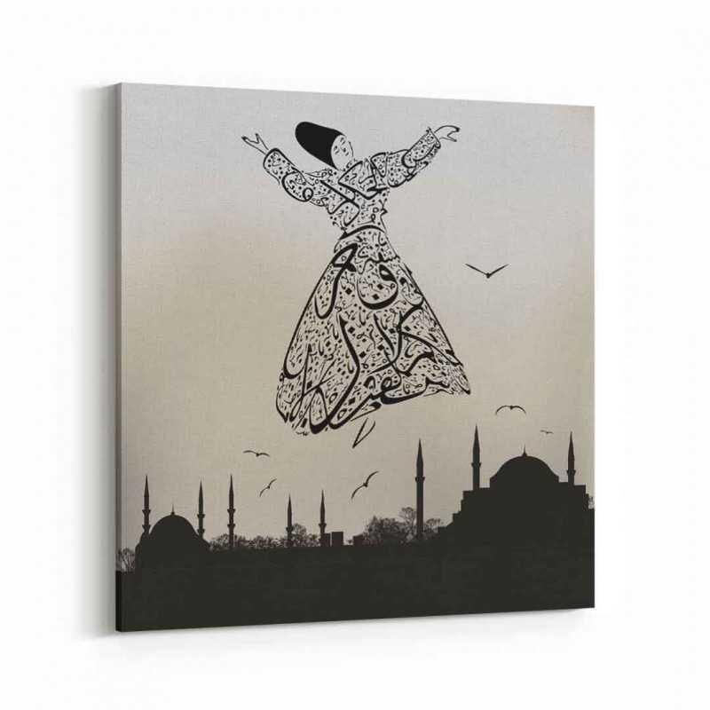 İstanbul ve Semazen  Kanvas Tablo