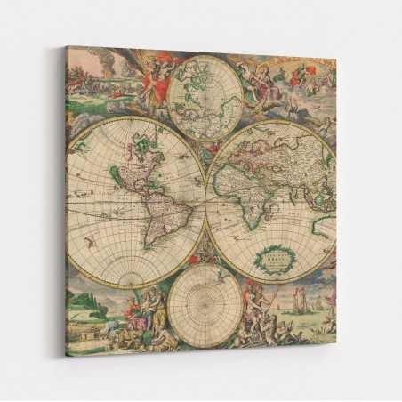 Eski Dünya Haritası Kanvas...