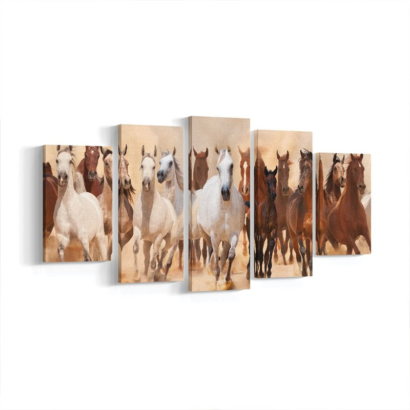 Koşan Atlar Parçalı Kanvas Tablo