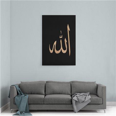 Allah Lafzı Siyah Kanvas Tablosu