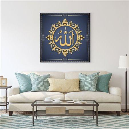 Tabrika Lacivert Allah Lafzı Kanvas Tablo