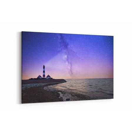 Deniz Feneri ve Gökyüzü Kanvas Tablosu